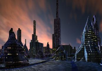 3D Rendering of a Fantasy Alien City - 3D Illustration