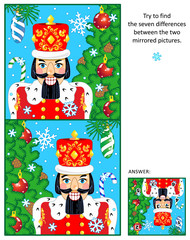 New Year or Christmas visual puzzle: Find the seven differences between the two mirrored pictures of nutcracker, christmas tree, baubles, falling snow. Answer included.