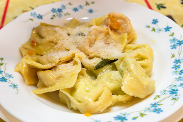 Ravioli filled with pumpkin and sage