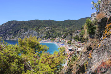 View of the sea and the beach in Monterosso, Cinque Terre, Liguria, Italy
