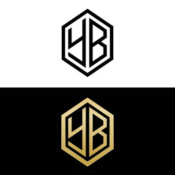 initial letters logo yb black and gold monogram hexagon shape vector