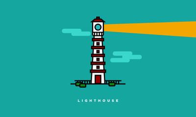 Lighthouse (Line Art Vector Illustration in Flat Style Design)