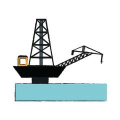 Petroleum pump in ocean icon vector illustration graphic design