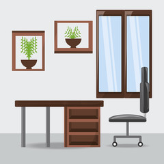 office with furniture elements colorful design vector illustration