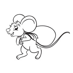 Mouse carries a bag of food. Isolated on a white background. Outlined for coloring book