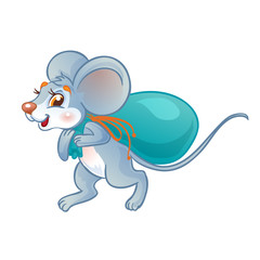 Mouse carries a bag of food. Isolated on a white background