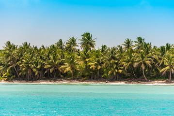 Poster Caraïben Sand beach in Bayahibe, La Altagracia, Dominican Republic. Copy space for text.