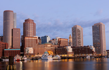 Boston Financial District before sunrise viewing from Fan Pier Park, Boston, Massachusetts, USA