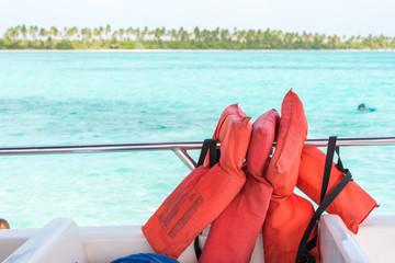 life jackets close-up, Bayahibe, La Altagracia, Dominican Republic.