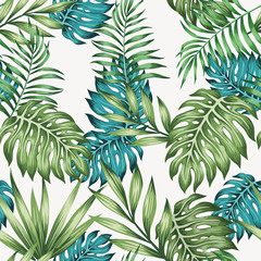 Blue and green leaves seamless