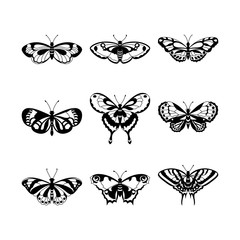 Set of black butterfly silhouettes, vector illustration.