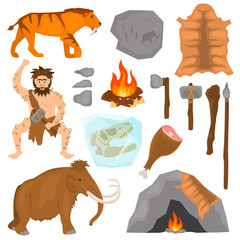 Ice age color flat icons set