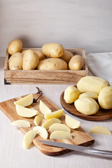 Freshly peeled potato, ready for cooking. Ingredient for the recipe