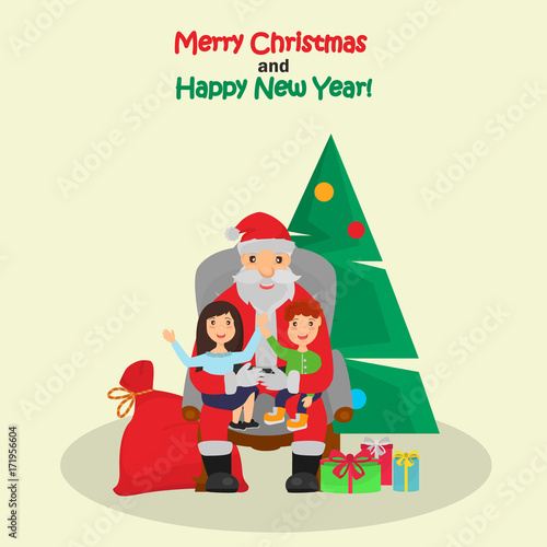 Little boy and girl sit on the Santa Claus knees color illustration ...