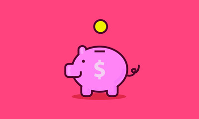 Piggy Bank with Coin (Vector Illustration Line Art Flat Style)