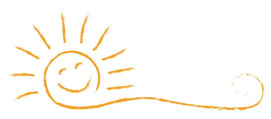 Drawn sun banner - stock vector