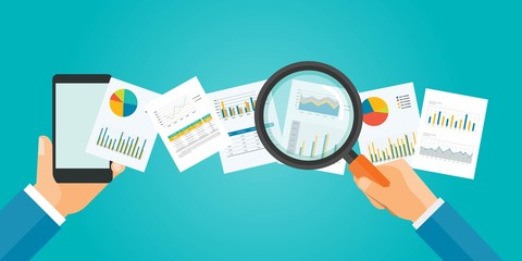 flat vector banner for analytic finance  graph report and business investment planning concept