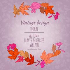 Autumnal round frame. Floral plant botany elements. Colorful vector hand drawn illustration on light background for design greeting card or Invitation.