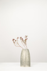 A vase with dry flowers