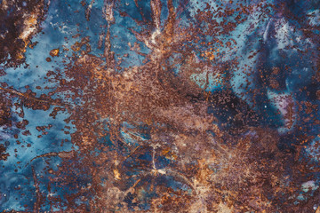 Rusty metal surface. Wrinkled and deformed. Background texture