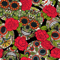 Seamless pattern, background with sugar  skull and red roses. Stock vector illustration.