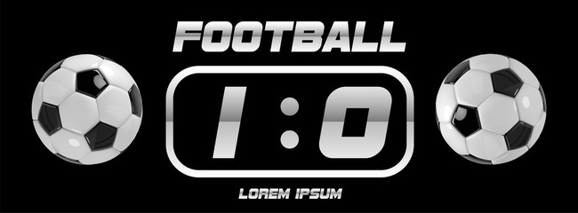 Soccer or Football White Banner With 3d Ball and Scoreboard on black background. Soccer game match goal moment with ball in the net.