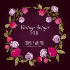 Pink, burgundy red and violet flowers wreath. Vector design card. Botanical style frame with floral plant botany element on dark chalkboard background.