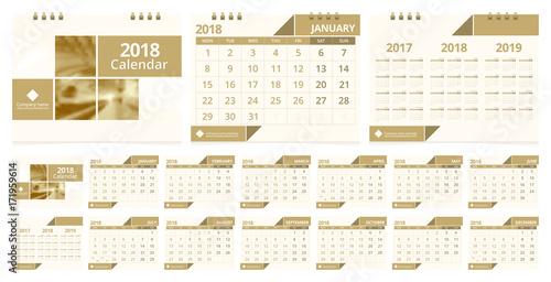 2018 Calendar Week Start On Monday Desk Calendar For Corporate