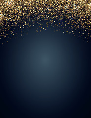 Festive vertical Christmas and New Year background with gold glitter of stars. Vector illustration.