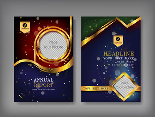 Gold cover Annual report template, golden cover design, brochure flyer, info graphics elements, leaflet, booklet, profile, poster, book, catalog, magazine ads,vector