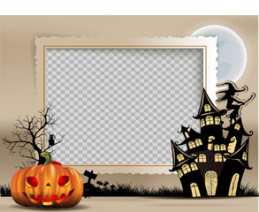 photo frame of Halloween, Halloween night background with creepy castle and pumpkins, illustration