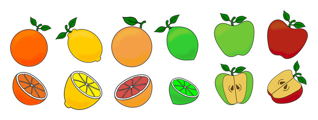 Set of vector illustrations of different fruits