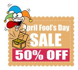 Funny Joker Face - April Fool Day Sale Banner - clip-art vector illustration