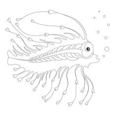 Decorative fish, coloring page