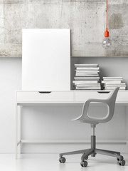 Working office with mock up poster, 3d illustration