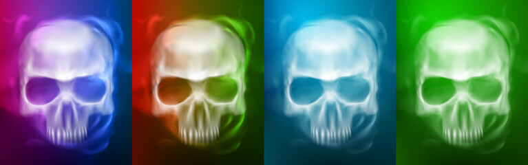Transparent Skull  or Ghostl on different colors styles for Halloween Background.vector illustration eps 10