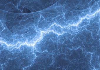 Blue lightning, plasma background