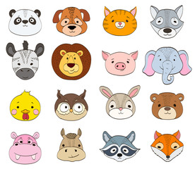 set of cartoon animal faces on white. baby animals symbols drawing vector illustration