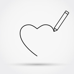 Pencil drawing the heart outline style vector illustration.