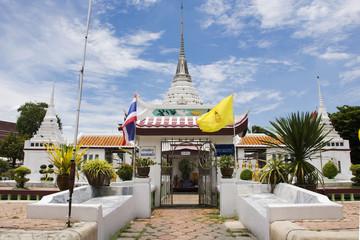 Garden Poster Temple Chedi of Wat Prot Ket Chettha Ram temple in Samut Prakan, Thailand