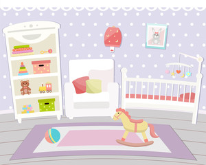 Flat design. Baby room with a  shelf,  toys, cot, bedside  table, armchair  and rug. Children's room.
