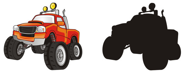 monster, truck, monster truck, big foot, big foot car, extreme, auto, motor racing, motor, cartoon, transport, car, driving, truck, two, different