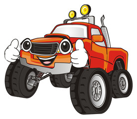monster, truck, big foot, extreme, auto, motor racing, motor, cartoon, transport, car, bumper, big, up,  driving, outside driving, wheel, face, emotion, smile, hands, happy, cool