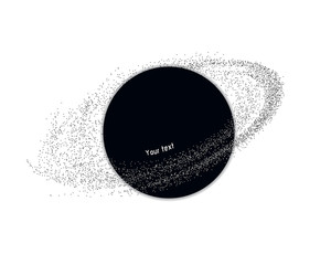 Futuristic black hole with asteroid belt and abstract elements.