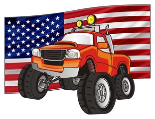 monster, truck, monster truck, big foot car, big foot, extreme, auto, motor racing, motor, cartoon, transport, car, bumper, big, up,  driving, outside driving, wheel, flag, USA, America