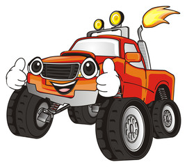 monster, truck, big foot, extreme, auto, motor racing, motor, cartoon, transport, car, bumper, big, up,  driving, outside driving, wheel, cool, face, emotion, smile, hands, happy,
