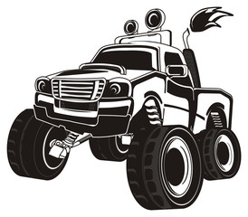 monster, truck, big foot, extreme, auto, motor racing, motor, cartoon, driving, outside driving, wheel, black and white, black, not colored,