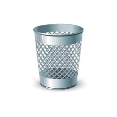 Metal office dustbin for paper ejection