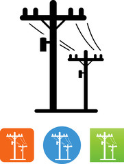 Telephone Poles Icon - Illustration