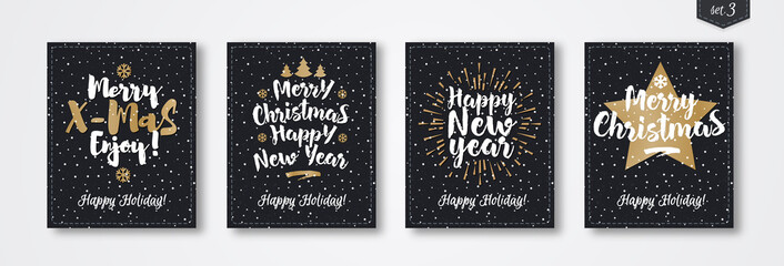 Christmas greeting card set with emblem gold style consisting sign Merry Christmas, Happy New Year with sunburst, star, christmas tree on snow holiday background black color. Vector Illustration